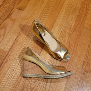 Cole Haan Nike Air Joicelyn Gold Wedges
